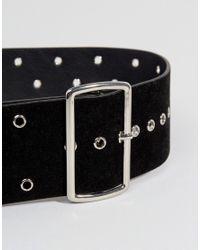 Glamorous - Wide Waist Belt With Eyelet Detail In Black - Lyst