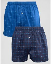 Lacoste | Woven Boxers 2 Pack Print Blue for Men | Lyst