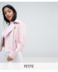 Noisy May Petite - Pink Leather Look Biker Jacket - Lyst