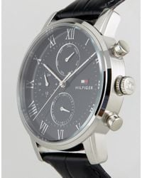Tommy Hilfiger 1791401 Kane Chronograph Leather Watch In Black for men