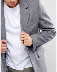 ASOS - Multicolor Ditsy Ring Pack In Black And Gunmetal for Men - Lyst