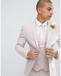 ASOS - Design Wedding Skinny Suit Jacket In Pink Wool Blend for Men - Lyst