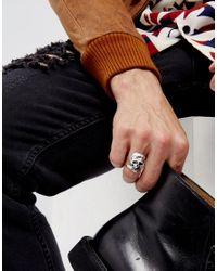 ASOS - Metallic Halloween Split Skull Ring In Burnished Silver for Men - Lyst