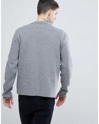 ASOS - Gray Knitted Blazer In Grey for Men - Lyst