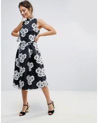 18b0c12b5470 Amy Lynn Amy Lynn High Neck Skater Dress In Floral Print in Black - Lyst