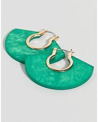 ASOS - Metallic Design Hoop Earrings With Resin - Lyst