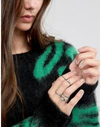 ASOS - Metallic Pack Of 8 Woven Band And Stone Rings - Lyst