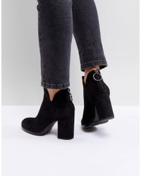 Bershka - Black Zip Back Heeled Ankle Boot - Lyst