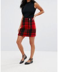ASOS - Red Tartan Check Mini Skirt With Double Zip Detail - Lyst