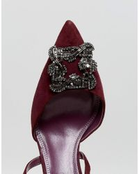 Dune - Red London Pointed Shoe With Crystal Embellishment And Cross Straps - Lyst
