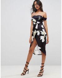 ASOS - Black Scuba Wrap Front Floral Bardot Midi Dress - Lyst