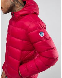 North Sails - Hooded Down Puffer Jacket In Red for Men - Lyst