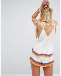 Free People - White Fire Matching Shorts And Vest Set - Lyst
