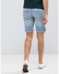 Blend - Blue Denim Badge Short for Men - Lyst