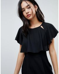 ASOS - Black Double Layer Mini Wiggle Dress With Angel Sleeve - Lyst
