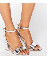 05d294c590f2 ASOS Asos Heron Wide Fit Heeled Sandals in Metallic - Lyst