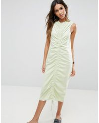ASOS - Green Midi Dress With Ruched Detail And Low Back - Lyst