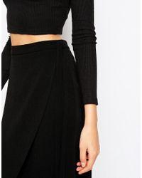 ASOS - Black Wrap Midi Skirt - Lyst
