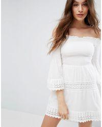 63c306b5c6cff Bershka Shirring And Crochet Dress in White - Lyst