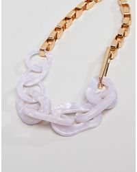 ASOS - Metallic Design Statement Necklace With Oversized Resin And Metal Link Chain In Gold - Lyst