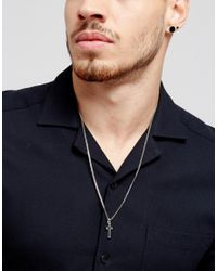 Icon Brand - Cross Pendant Necklace In Matte Black for Men - Lyst
