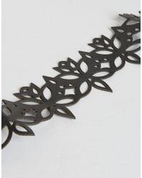 ALDO - Black Floral Cutout Choker - Lyst