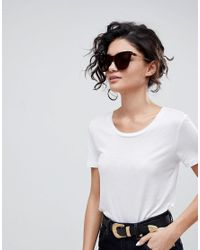 ASOS - Brown Squared Cat Eye Sunglasses With Laid In Lens - Lyst