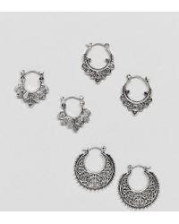 ASOS - Metallic Design Pack Of 3 Cut Out And Engraved Hoop Earrings - Lyst