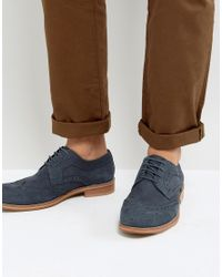 Dune - Blue Midnight Brogues In Navy Suede for Men - Lyst
