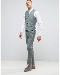Heart & Dagger - Green Slim Suit Pant In Summer Wedding Check for Men - Lyst
