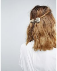 ASOS - Metallic Hammered Circle Barette Hair Clip - Lyst