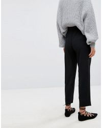 Suncoo - Black Cigarette Pant With Bow Detail - Lyst