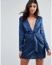 Lyst - Missguided Silky Plunge Wrap Dress in Blue 2b14cd4c3