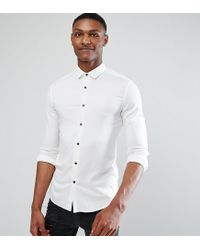 ASOS - Tall Skinny Stretch Viscose Shirt In White for Men - Lyst