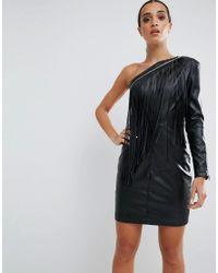 ASOS - Black Fringe Faux Leather Mini Dress - Lyst
