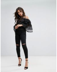 PRETTYLITTLETHING - Black Organza Frill Sleeve Blouse With Mesh Insert - Lyst
