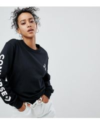 Converse - Long Sleeve T-shirt In Black With Arm Graphic - Lyst