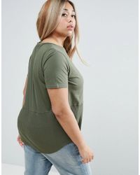 ASOS - Green Contrast Ribbed Panel T-shirt - Lyst