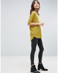 ASOS - Yellow Oversized T-shirt With V Neck And Dip Back In Rib - Lyst