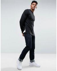 ASOS - Longline Muscle Fit Sweatshirt With Side Zip In Black for Men - Lyst