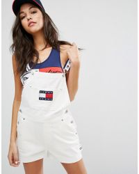46afbbae6 Tommy Hilfiger Tommy Jeans 90's Dungaree in White - Lyst