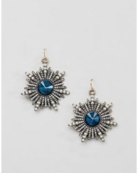 ASOS - Metallic Earrings In Vintage Style With Bright Jewel And Pearls In Gold - Lyst