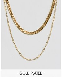 Gogo Philip - Metallic Double Layered Gold Plated Necklace - Lyst