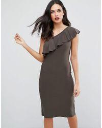 Love | Green One Shoulder Frill Dress | Lyst