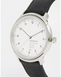 Mondaine - Helvetica Bold Leather Watch In Black 40mm for Men - Lyst