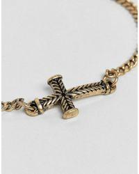 Icon Brand - Metallic Mini Cross Chain Bracelet In Burnished Gold for Men - Lyst
