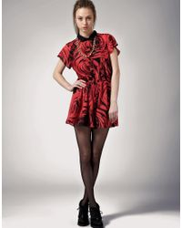 Antipodium - Red Better The Devil Rose Print Playsuit - Lyst