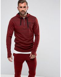 11 Degrees - Red Track Hoodie In Burgundy With Half Zip for Men - Lyst