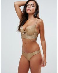 Wolf & Whistle - Metallic Plunge Bikini Top With Removable Gold Chain A-ff Cup - Lyst