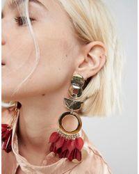 ASOS - Metallic Asos Statement Petal And Shape Drop Earrings - Lyst